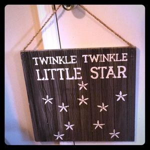 Rustic nursery wood wall sign twinkle twinkle